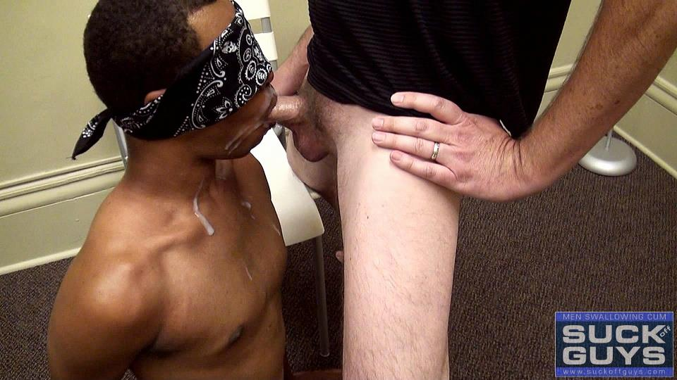 Suck-Off-Guys-Brandon-Anonymous-Black-Guy-Sucking-A-White-Daddy-Cock-Eating-Cum-Amateur-Gay-Porn-39 Young Blindfolded Black Guy Sucking On A Hairy Daddy Cock