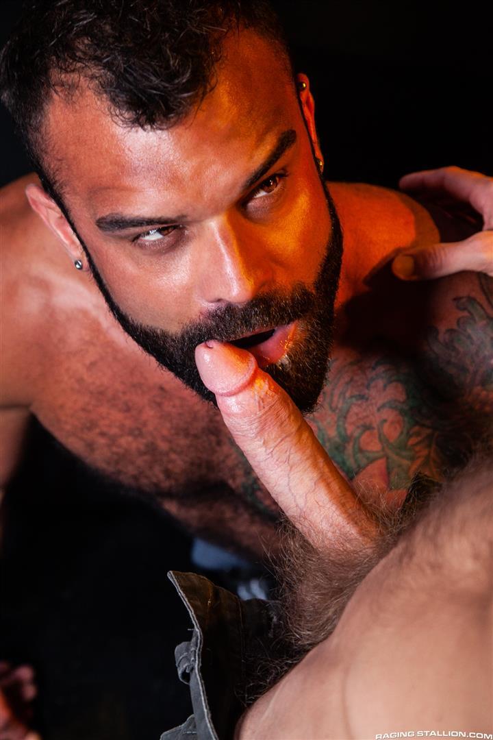 Raging-Stallion-Drake-Masters-and-James-Stevens-hairy-guys-cum-facial-09 Hairy Muscle Bear Drake Masters and Otter James Stevens Swap Cum Facials