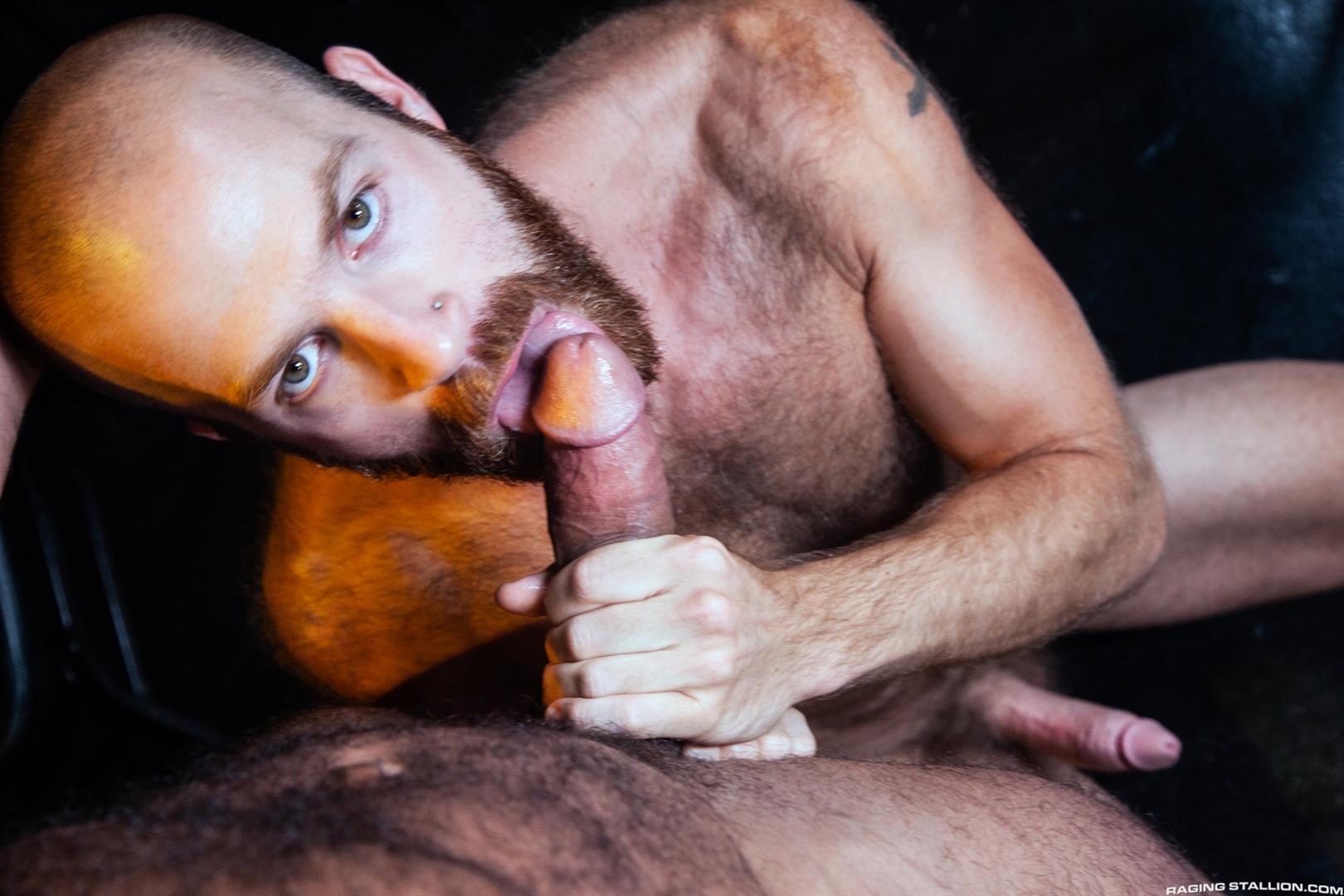 Raging-Stallion-Drake-Masters-and-James-Stevens-hairy-guys-cum-facial-13 Hairy Muscle Bear Drake Masters and Otter James Stevens Swap Cum Facials